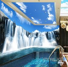 3d large waterfall blue sky ceiling entire room wallpaper wall 3d large waterfall blue sky ceiling entire room wallpaper wall mural art prints idcqw 000165