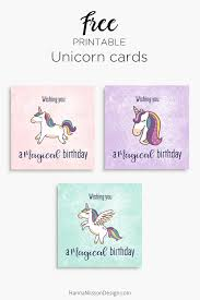 magical unicorn birthday cards free printable download