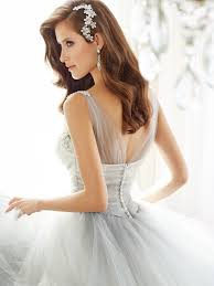 tulle ball gown wedding dress with back zipper
