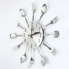 3d wall clock stainless steel knife fork modern design large