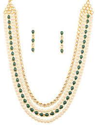 emerald pearl necklace images Touchstone indian bollywood mughal era kundan and jadu inspired jpg