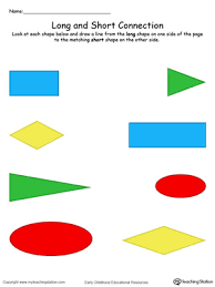 long and short shape connection in color worksheets in color