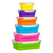 flat stacks collapsible silicone food storage containers