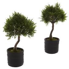 9 inch cedar bonsai 3363 fr 11 5 inch artificial cedar bonsai in planter set of 2
