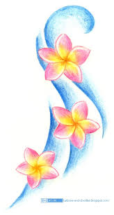 plumeria flowers and wave tattoo design tattoomagz