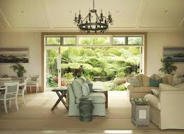 chandelier on ceiling garden style room has