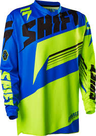 motocross jersey sale new shift youth mx gear assault yellow blue kids large motocross