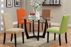 Glass Table And Chairs For Kitchen by Modern Glass Top Round Table Dining Set Parson Chair Kitchen 4