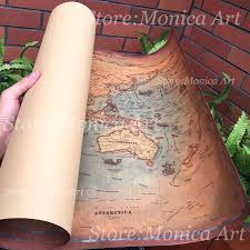retro world map kraft paper paint vintage wall sticker poster