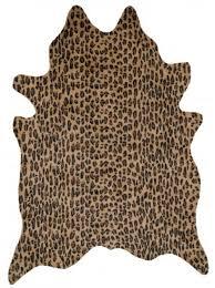 white leopard print faux cowhide rug