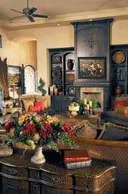 tuscan interior french style fireplace beige rattan arms sofa