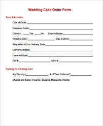 wedding cake order form 7 cake order form sle 7 exles in word pdf