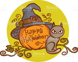 halloween background cat and pumpkin happy halloween cat pumpkin witch hat stock vector art 545458370