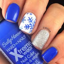 31 cute winter inspired nail art designs glitter blue nails art