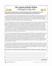 the legend of sleepy hollow worksheet education com
