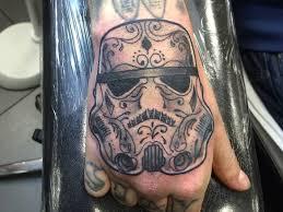 star wars stormtrooper tattoo on right hand