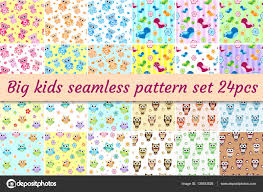 kids seamless pattern big set children endless background with