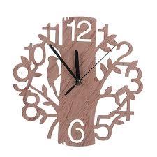 creative tree shape wood wall clock vintage bedroom living room