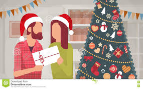 couple hold present decorated gift new year merry christmas
