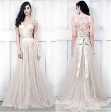 china v neckline champagne bridal wedding dress lace tulle beach
