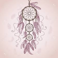 hand drawn indian amulet dream catcher with flying feathers on
