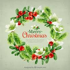 beautiful christmas cards beautiful christmas card wreath in watercolor effect vector free