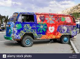 volkswagen hippie van old painted vw camper van hippie van matala crete greece stock