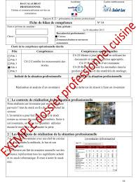 la cuisine professionnelle pdf fiche bilan de compétences bac pro cuisine cuisinefr