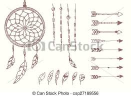 clipart vector of hand drawn native american feathers dream
