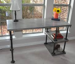 pipe desk with shelves industrial pipe desk with shelves