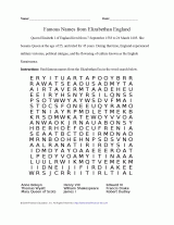 queen elizabeth i word search printable word search 4th 12th