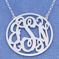 Monogram Necklace Silver Silver 3 Initials Circle Monogram Necklace 1 1 4 Inch Diameter