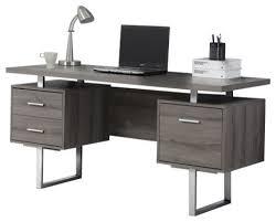 Gray Computer Desk 60 Silver Metal Computer Desk Contemporary Desks And Hutches