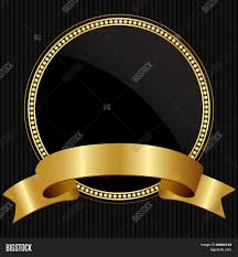 black and gold ribbon luxury background decorated the vintage ornament and ribbon stock