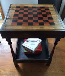 reclaimed wood game table reclaimed wood side table with checkerboard by theelittlebirds