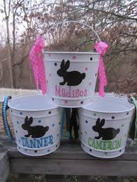 personalized easter egg baskets personalized easter basket pail 10 quart size bunny