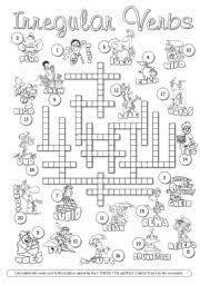 english teaching worksheets irregular verbs crossword