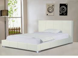 Double Faux Leather Bed Frame by White Faux Leather Bed Frame Double Or King Homegenies