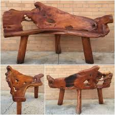 burl teak root carved wood bench live edge wood bench indonesian