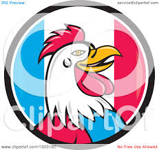 Flag Circle Clipart Of A Cartoon Rooster Head In A French Flag Circle