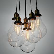 Light Bulb Ceiling Light Edison 6 Light Led Pendant Light In Bronze Beautifulhalo