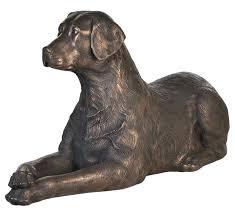 size labrador lying black labrador garden statue black