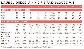 blouse size chart laurel blouse flowers sprout patterns
