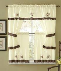 Coffee Print Kitchen Curtains Coffee Themed Kitchen Curtains Tiers Valance Set Complete Curtains