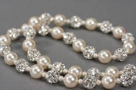 pearl necklace bridal jewelry images Swarovski pearl and rhinestone bridal necklace handmade wedding jpg