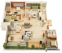 3d floor house plans 4 bedroom and double garage