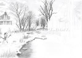 pencil sketches nature scene pencil drawings of natural scenery
