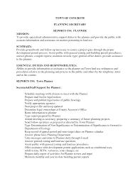 cover letter secretary job description secretary job