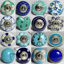 blue ceramic door knobs mix u0026 match vintage shabby chic handles