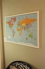 Framed World Map by Diy Framed Map Corkboard Bulletin